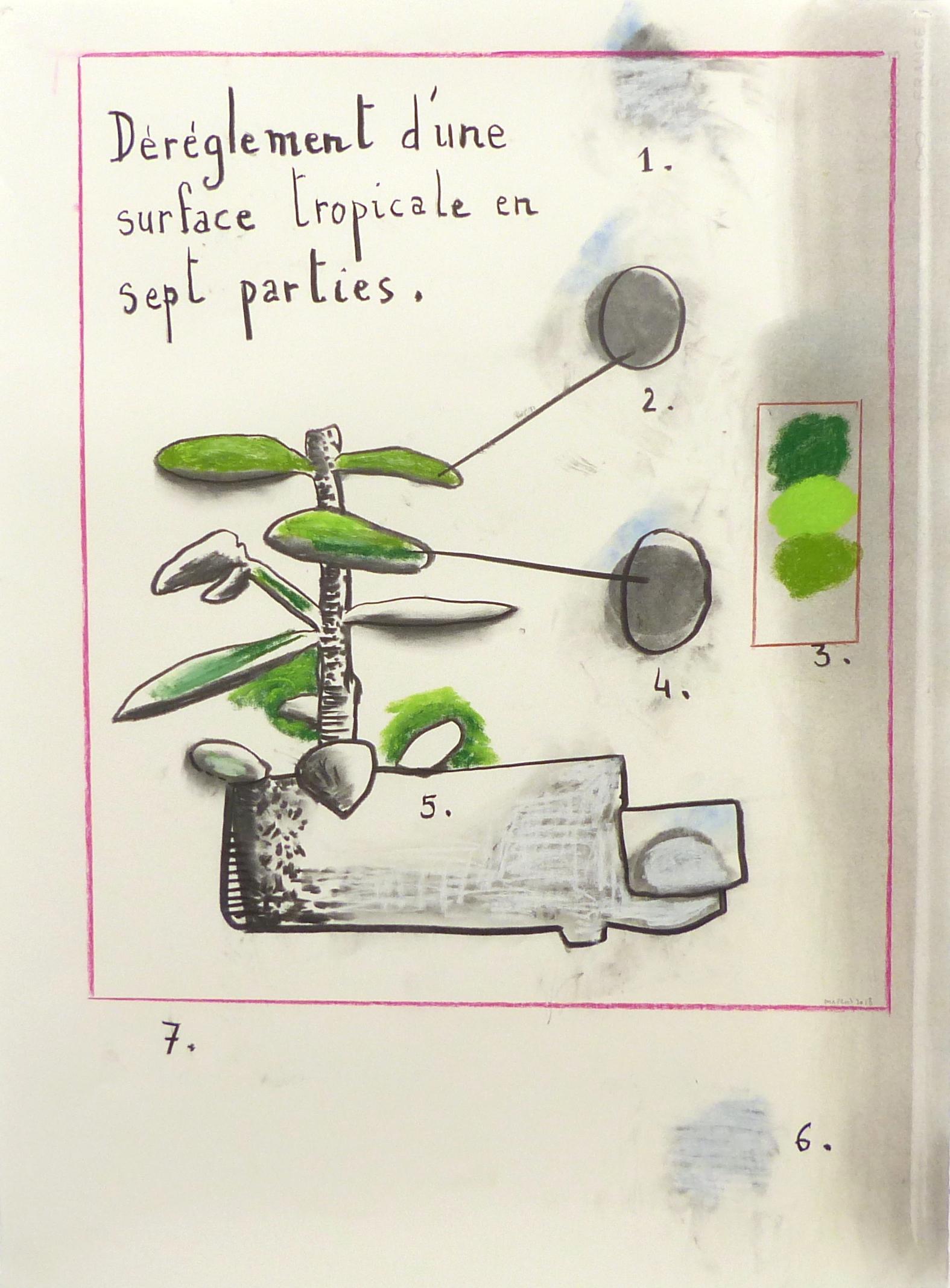 Déréglement d'une surface tropicale en sept parties - Technique mixte sur papier - 65 x 50 cm - 2018 - Collection particulière
