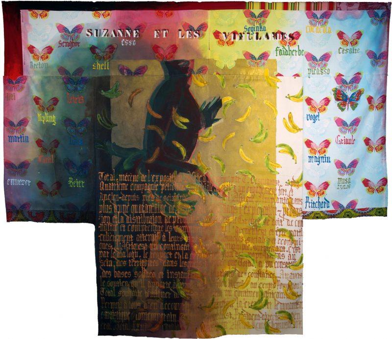 Suzanne et les vieillards I - Encre sur textile - 253 x 288 cm - 2006