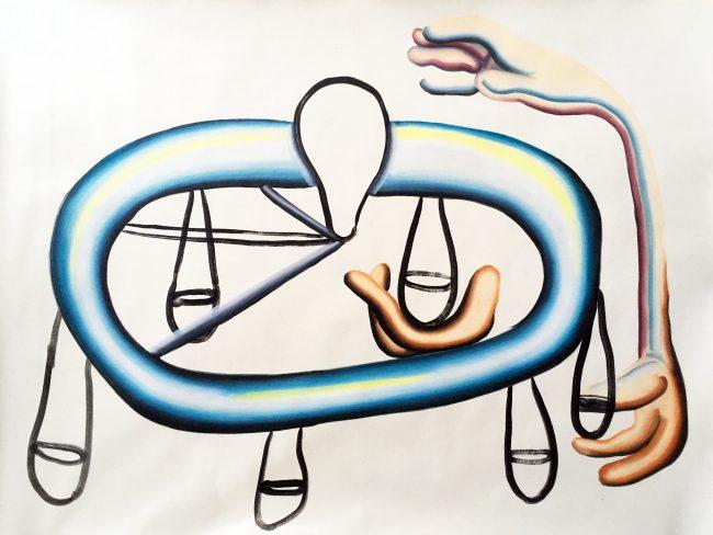 Balance des impaires - Huile sur papier - 60 x 55 cm - 2016