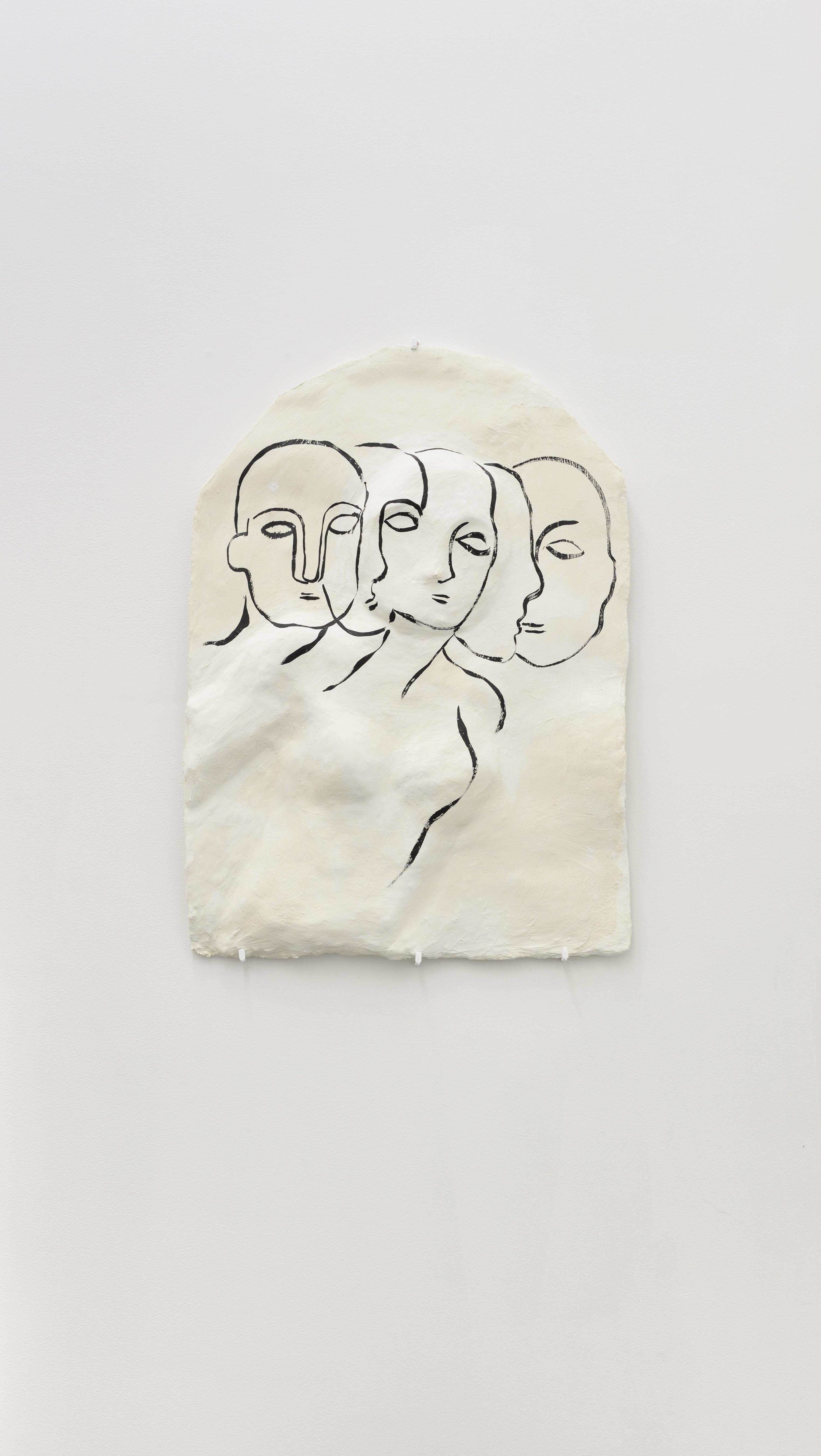 Vue d'exposition Claud'Io - Bouge, la figure de proue - Plâtre filasse - 54,4 x 79 cm - 2018