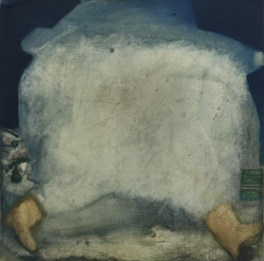 Femme nuage est allée courrir - Oil on canvas - 40 x 40 cm - 2017