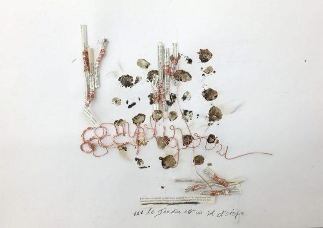 Le jardin est un sol d'utopie - De la série de la Langue Secouée - Cuivre, Thé, Résine d'Okoumé, Etymologies - 30 x 43 cm - 2016