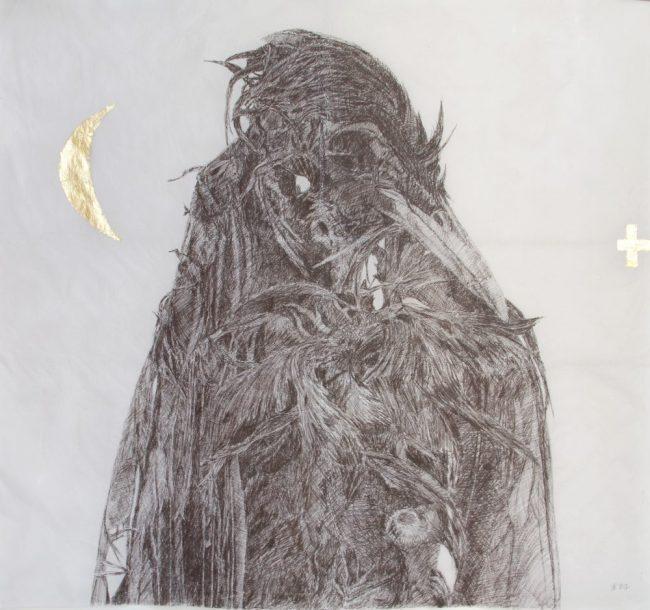 Oiseau magique qui pue - Mine de sépia dark et or sur papier paraffiné - 195 x 180 cm - 2012