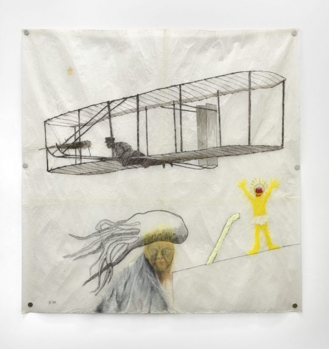 Wilbur Wright survolant Saint Christophe - De la série des Mythologies Personnelles - Technique mixte sur papier paraffiné - 180 x 180 cm - 2011