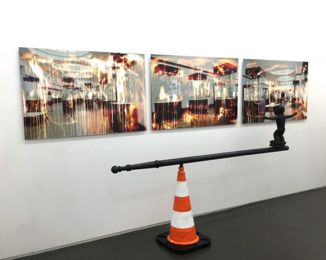 Vue de l'exposition A Blueprint for dystopia, Galerie Maïa Muller, 2016 © Rebecca Fanuele