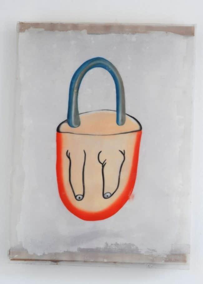 En boucle - Huile, papier, résine et bois - 80 x 75 cm - 2015