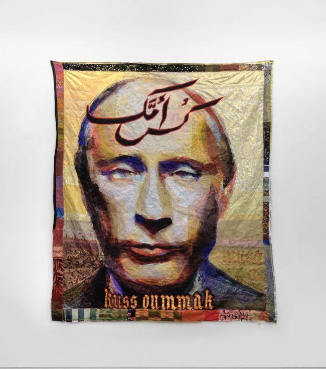 Kuss Oummak (portrait de Poutine) - Textiles - 212 x 179 cm - 2015 - Collection particulière © Rebecca Fanuele