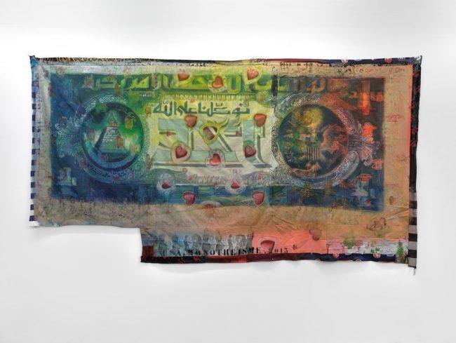 Monotheisme - Encre sur textile - 182,5 x 354 cm - 2014 © Rebecca Fanuele
