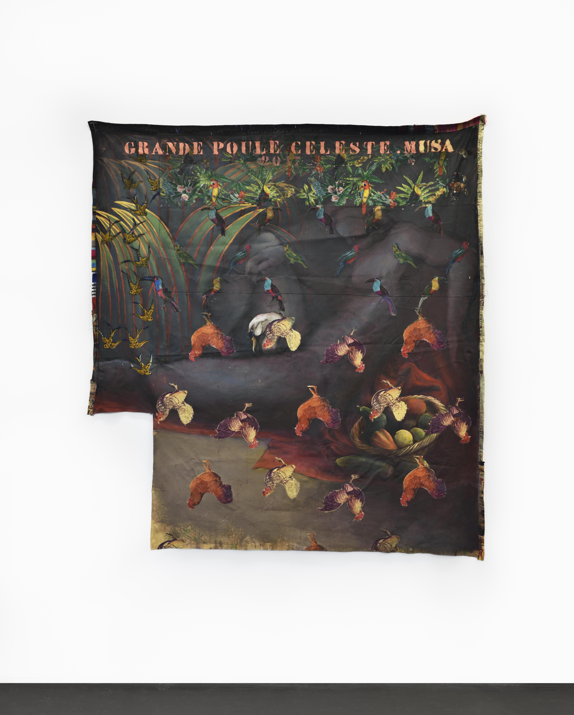 Grande poule céleste (Leda) - Encre sur textile - 179 x 241 cm - 2017 - Courtesy de l'artiste et Galerie Maïa Muller ©Rebecca Fanuele
