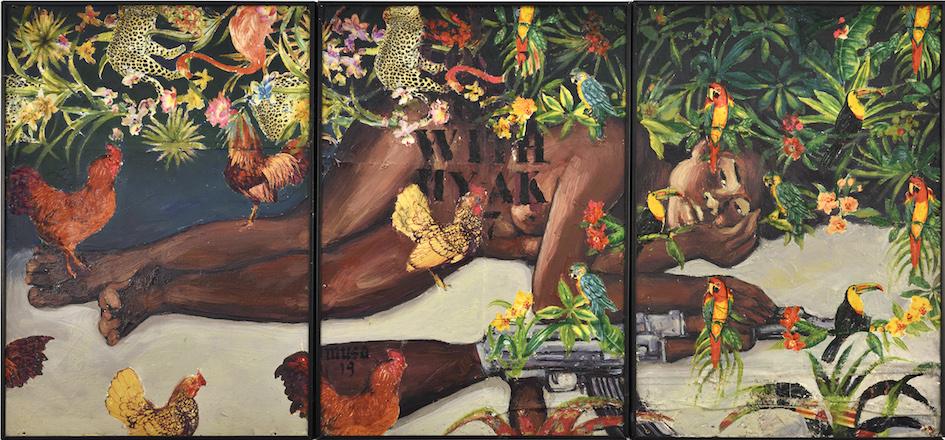 I love you with my AK47 (D'après Gauguin), 2019